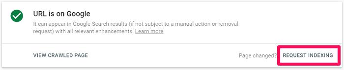 request indexing google webmastertool